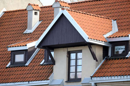 New red roof tile background. Architecture Lithuania Standard-Bild