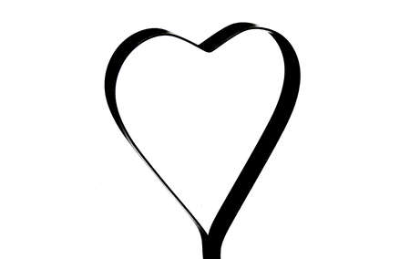 Black silhouette hearts set, Valentine day love adult vintage wedding invitation logo design
