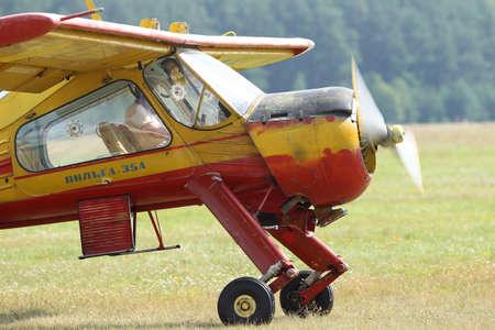 The plane wilga 35a, at Pociunu airport, Lithuania Reklamní fotografie