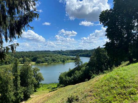 Beautiful green riverbank of Nemunas river in Birstonas, Lithuania