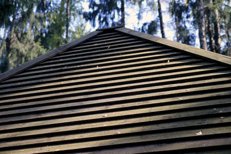 Old wooden plank roof, Wooden surface texture. Lithuanian village