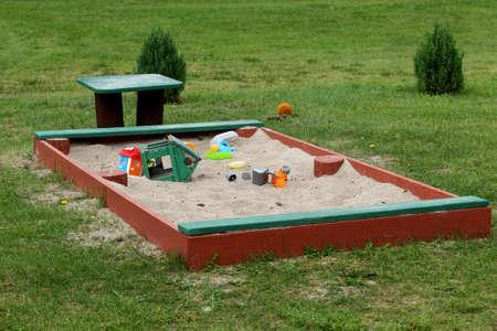 Summer children's toys on the sand, a small sandbox. Latvia Stock Photo