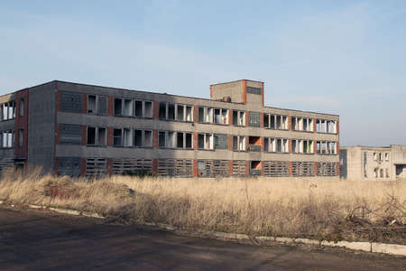 The abandoned old factory building outside. Kedainiai Imagens