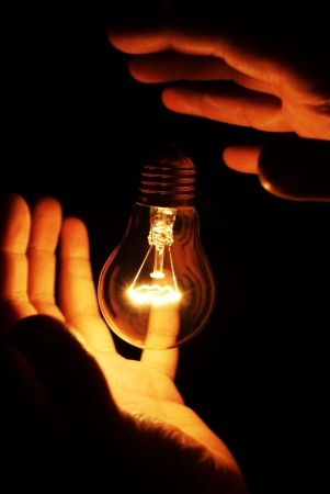 glower: Picture of soaring light bulb Stock Photo