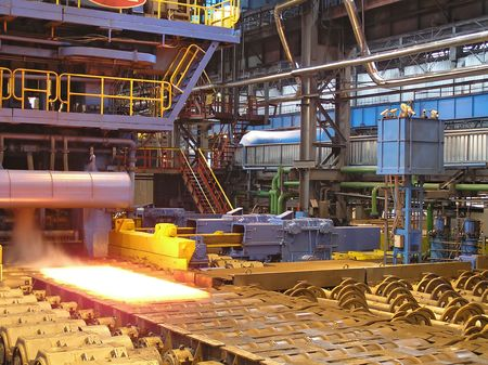 Cold rolling department in ferrous metallurgy factory with hardware. Stock Photo