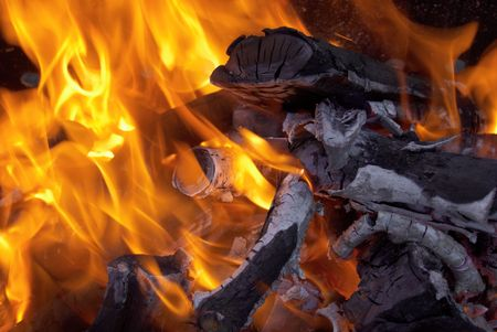 A bright fire and flames from a campfire. Stock Photo - 4804183