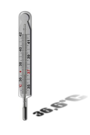 36 6: Mercurial thermometer (36,6) isolated on a white background (over white)