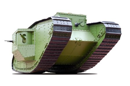 The British Mark V heavy tank of the  World War I. Isolated on white.