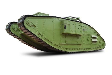 The British Mark V heavy tank of the  World War I. Isolated on white. Stock Photo - 7720959