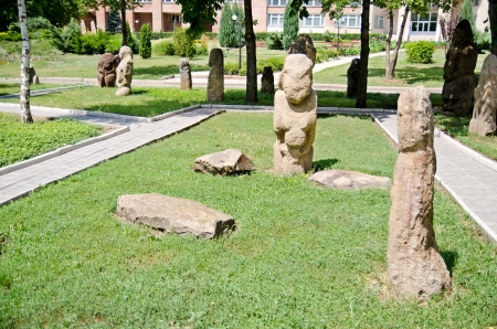 luhansk: Polovtsian stone sculptures XI-XII of centuries in archaeological and ethnographic park-museum of Taras Shevchenko National University of Luhansk. Ukraine, Luhansk.