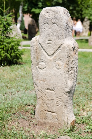 luhansk: Polovtsian stone sculpture XI-XII of centuries in archaeological and ethnographic park-museum of Taras Shevchenko National University of Luhansk. Ukraine, Luhansk. Editorial