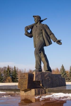 luhansk: Monument to Soviet miner, coal industry innovator, the founder of the Stakhanov movement, Hero of Socialist Labor, Alexey Stakhanov. Ukraine, Luhansk region., Stakhanov, st. Thalmann.