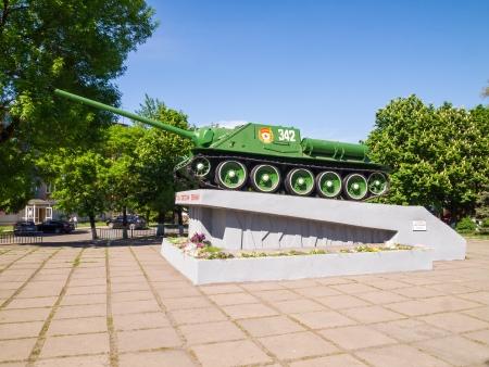 destroyer: Soviet tank destroyer of World War II SU-100 in the area of 30th anniversary of Victory in Alchevsk, Ukraine.