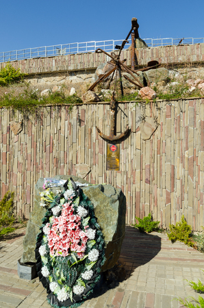 attacked: A plaque dedicated to the memory of cargo-ship  Armenia , which was attacked by Nazi aircraft torpedo November 7, 1941, and the sunken 30 miles from Yalta  Board near the Temple-Lighthouse St  Nicholas of Myra  Malorechenskoye village near Alushta  Ukrain