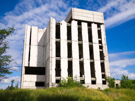 unfinished building: Destroyed concrete structures of unfinished building