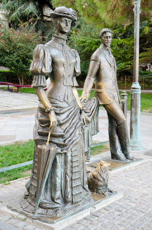 pawl: The sculpture The Lady with the Dog and Chekhov on the seafront of Yalta. Crimea.