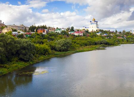 riverfront: Riverfront Bystraya Sosna and the Ascension (Voznesensky) Cathedral. Yelets, Lipetsk region, Russia.
