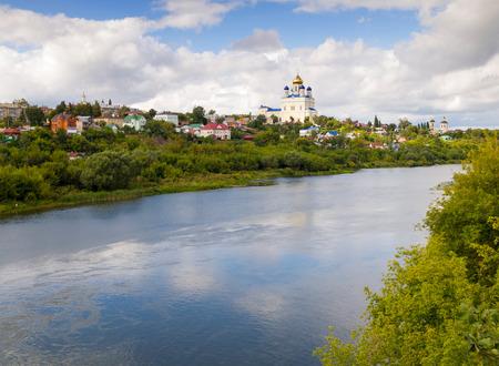 Riverfront Bystraya Sosna and the Ascension (Voznesensky) Cathedral. Yelets, Lipetsk region, Russia.