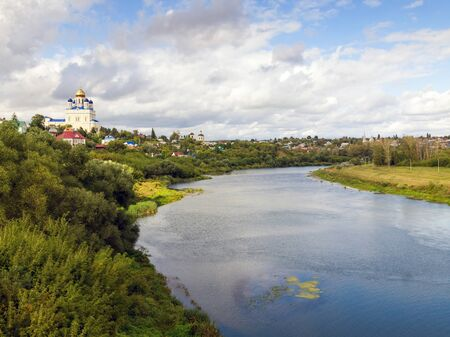 the ascension: Riverfront Bystraya Sosna and the Ascension (Voznesensky) Cathedral. Yelets, Lipetsk region, Russia.