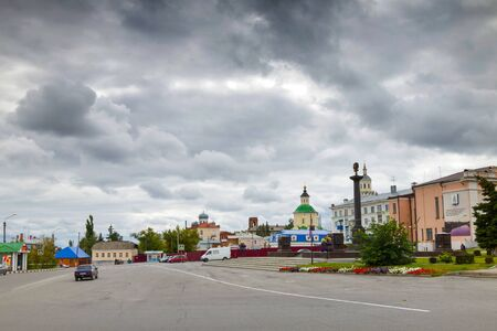 red cross red bird: Red Square in the center of Yelets. Lipetsk region, Russia.