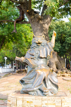 kuban: Sculpture Learned Cat was created based on the works of Alexander Pushkin Curved seashore (Lukomorye) (established in 2008). 4 June 2016 added a bronze sculpture Mermaid (in oak branch in the background). Lermontov Boulevard, Gelendzhik, Russia.