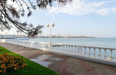 krasnodar region: Gelendzhik embankment, Lermontov Boulevard. After the rain. Stock Photo