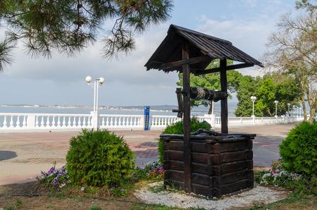 Stylized well on Gelendzhik waterfront. Gelendzhik, Krasnodar Krai, Russia.