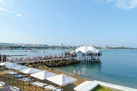 View from the promenade to the beach and the bay. Lermontov Boulevard, Gelendzhik, Krasnodar Krai, Russia. Editorial