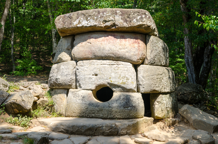 Dolmen, single-chamber megalithic tomb of the Middle Bronze Age (3000?2000 BC). Valley of Zhane River, near the village Vozrozhdenie in the vicinity of the resort city of Gelendzhik. Western Caucasus, Krasnodar region of Russia.