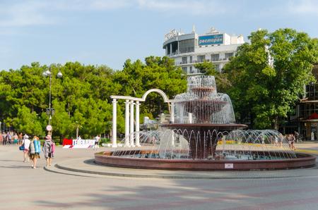 rotunda: Gelendzhik, Krasnodar region, Russia - August 25, 2016. Light and music fountain and an arch at the entrance to Lermontov Boulevard. Editorial
