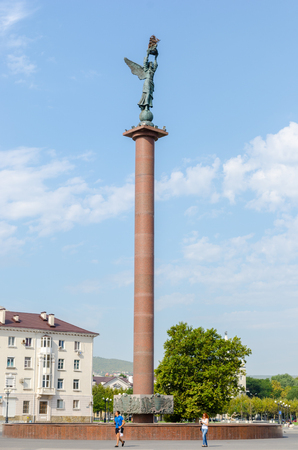 stele: Stele Marine Glory of Russia on the Shore Promenade behalf of Admiral Serebryakov. Opened April 25, 2007. Novorossiysk, Krasnodar Krai, Russia - August 28, 2016.