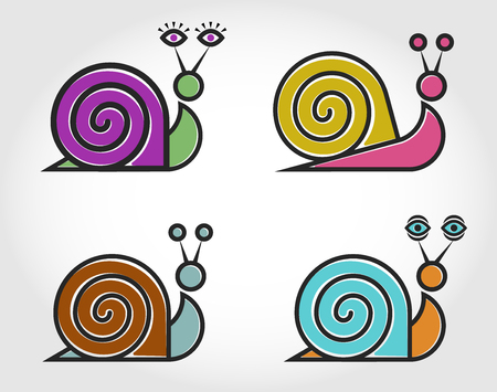 Four vector linear color of the snail.