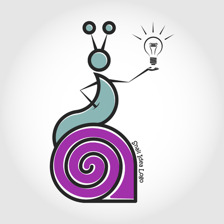 Vector line logo snail sits on his shell. Stock Vector - 106252650