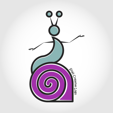 Vector line logo snail with human eyes dance on his shell. Illustration