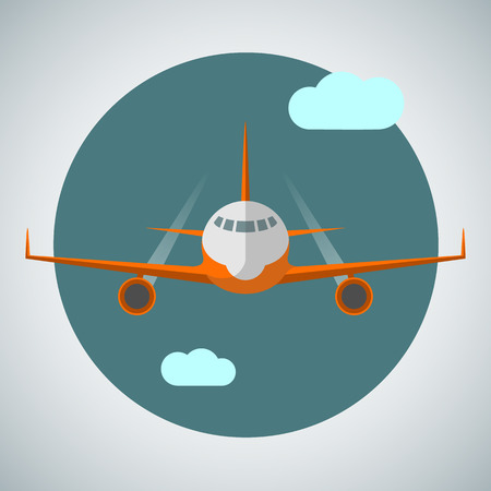 Icon of a passenger jet liner. Front view. Vector illustration in flat style.