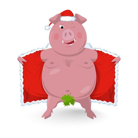 A funny naked boar in santa's clothes. New Year`s vector illustration in a flat style. Isolated on white.