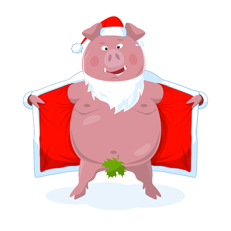 A funny naked boar in Santas costume. New Year`s vector illustration in a flat style. Isolated on white.