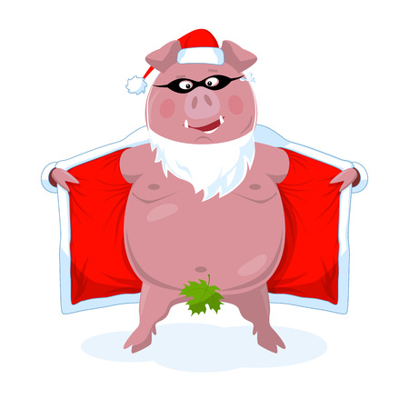 A funny naked boar in Santas clothes. Secret Santa. New Year`s vector illustration in a flat style. Isolated on white.