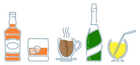 Bar drinks icons set: bottle of whiskey, glass of whiskey with ice, cup of coffee, bottle of champagne, lemon fresh.