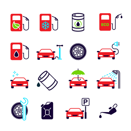 Color flat isolated vector icons set for site - gas station, eco petrol, winter gasoline, oil, tire fitting, charging, car wash, service, parking, cleaning, tire inflation.