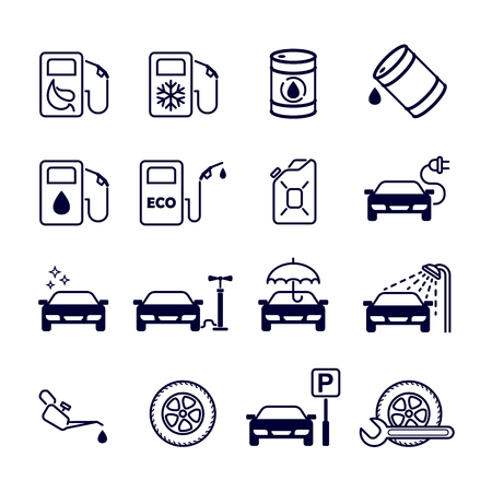 Black and white flat isolated vector icons set for site - gas station, eco petrol, winter gasoline, oil, tire fitting, charging, car wash, service, parking, cleaning, tire inflation. Иллюстрация