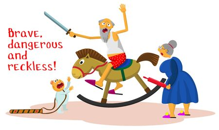 Brave, dangerous and reckless! A crazy grandfather with a toy sword on a baby horse rocking. Comic vector illustration for cup, sticker or others.  イラスト・ベクター素材