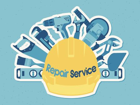 Template for Repair Service banner. Flat icons. Tools for house repair and constructing on white & blue background. Vector illustration. Illusztráció