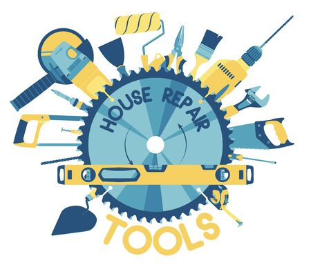 Template for building tools shop service banner. Flat icons. Tools for house repair and constructing on white background. Vector illustration. Foto de archivo - 134333343
