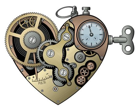 Mechanical heart in steampunk style. Isolated on white. Vector illustration.