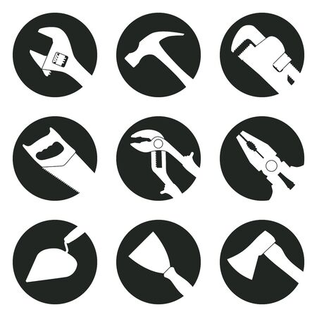 Work Tools. Black and white round icons with tool silhouettes: adjustable wrench, hammer, pipe wrench, hacksaw, multifunction pliers, pliers, trowel, spatula, axe. Illusztráció