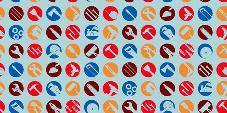 Seamless pattern. Round multi-colored icons with tool silhouettes on a blue background. Vector illustration.