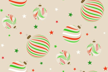 Abstract seamless pattern with christmas balls and stars. Vector illustration. Vektoros illusztráció
