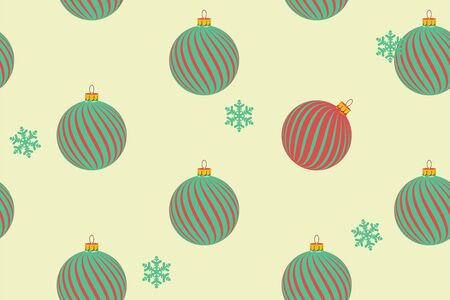 Abstract seamless pattern with christmas balls and snowflakes. Vector illustration.