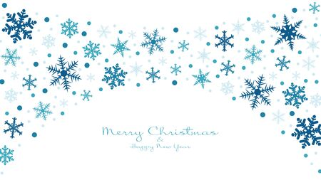 Snowflakes winter background. Merry Christmas and Happy New Year. Video backdrop, invitation or greeting card. Vector holiday template. Vektoros illusztráció